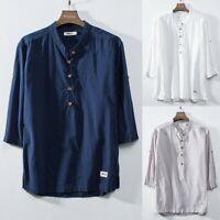 Mens Cotton Linen Shirts Stand Neck Summer Casual Shirt Short Sleeve Tops Shirts