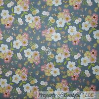 BonEful Fabric FQ Cotton Quilt Gray Pink Asian Flower White Green Leaf
