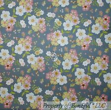 BonEful Fabric FQ Cotton Quilt Gray Pink Asian Korean Sm Flower White Green Leaf