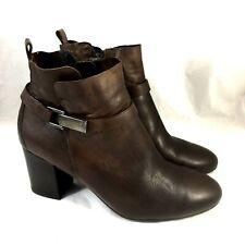 Paul Green Kathy Ankle Boot Brown Leather Round Toe Side zip Block Heel 5.5 UK 8