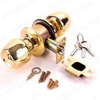 BRASS ENTRANCE DOOR KNOB SET +KEYS Internal/External Front/Main Room Lock Handle