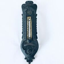 """New listing Vintage Antique Cast Iron Victorian Style 11"""" Inch Wall Thermometer Black Rare"""