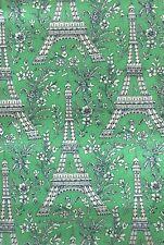 Michael Miller Cotton Fabric 1 Metre Eiffel Tower Bright Green Craft Quilt