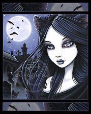 Gothic Black Cat Cemetery Fairy Full Moon Lila Signed Myka Jelina Art Print