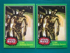 Lot of (2) 1977 Star Wars C-3PO Golden Rod Error & Corrected REPRINT Cards #207