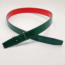 Handmade 32mm 2 Sided Genuine Crocodile Skin belt Size 90 Free Shipping
