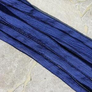 Navy Blue Silk Ribbons, Qty 5 Hand Dyed Ribbon Jewelry Making Supplies JamnGlass