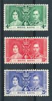 HONG KONG KGVI Coronation set 1937 4c Green MUH, 15c Red MLH & 25c Blue  MLH