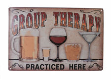 Alcohol Group Therapy Tin Sign Bar Garage Dorm Decor Retro Metal Art Poster New