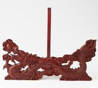 Rosewood Carved Dragon Plate Easel Display Holder Stand Round Disk Award Rack