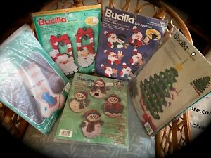 Vintage 5 different sets BUCILLA CHRISTMAS Crafts Kits Ornaments Stitchery