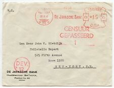 DUTCH EAST INDIES 1940 CENSORED METER FRANKING JAVA BANK to USA RIETDIJK..DEV 12