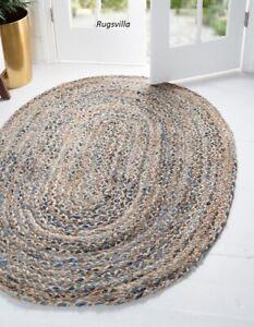 Rug Jute & Cotton Braided  Natural Oval Hemp Modern Living  Floor Carpet Rag Rug