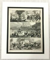 1849 Antique Engraving Print Spanish Bullfight Horse Equestrian Spain RARE