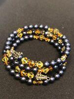 Vintage  Bohemian Glass Crystal Pearl Beaded Flex Wire Multi Strand  Bracelet