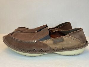 CROCS Crocadise Loafers Suede Brown Mens 12 Leather Slip On Shoes 11392 RARE