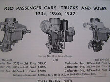 ORIGINAL 1935 1936 1937 REO Passenger Car Truck Bus Carter Carbureter Spec