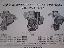 ORIGINAL 1935 1936 1937 REO Passenger Car Truck Bus Carter Carbureter Spec