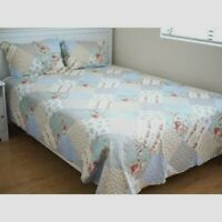 Shabby Chic Throw Bedspread Coverlet Set Quilt Blue Pink White Universal