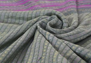 Handicraft Vintage Grey Saree Running Faux Silk Printed Indian Sari Craft Fabric