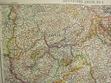 1907 DATED MAP ~ SOUTH WEST GERMANY WURTEMBERG BAVARIA BADEN