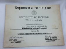 Vintage United States Air Force Certificate of Training 1960's 24985 Department