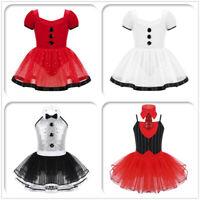 Girls Christmas Costume Ballet Skating Leotard Tutu Dance Dress Party Dancewear