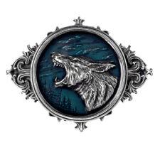 ALCHEMY WULVEN WOLF BELT BUCKLE Pewter and Blue Enamel Werewolf