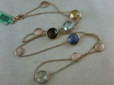 """MODERN 18K ROSE GOLD MULTI COLOR GEMS STATION BY THE YARD NECKLACE ITALY 24"""" AP1"""