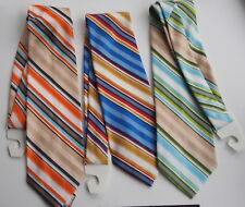 "3 Vintage 4 1/4"" Wide MEN'S MOD TieS Wide STRIP Bold COLORFUL EYE OPENING"