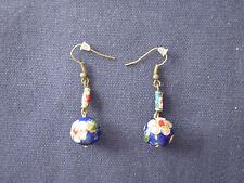 Boucles d'oreilles perles cloisonnées métal bronze
