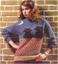 Ladies' DK and Mohair Cats Under The Moon Sweater Knitting Pattern 10102