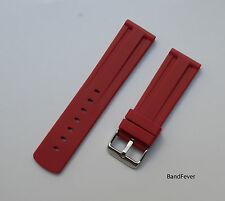 20mm Premium Red Silicone Rubber Waterproof Mens Watch Strap Divers Band Womans