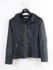 Wallis Petite Womens Black Faux Leather Biker Jacket Size 18