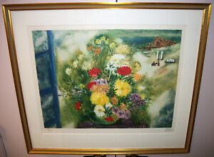 "Reuven Rubin ""Flower Bouquet in Caesaria"" signed print 32.5"" x 29"" Israel"