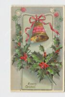 PPC POSTCARD MERRY CHRISTMAS HOLLY BELL CLOVER FLOWERS EMBOSSED