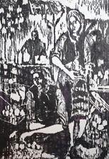 Vintage expressionist figures print signed