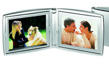 """SILVER PLATED FOLDING TWIN PHOTO FRAME 7"""" Home Travel High Quality New ENGRAVED"""