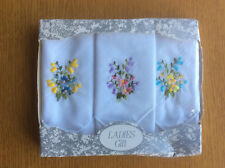 New Vintage Boxed 3x Handkerchiefs, White Cotton, Floral Embroidery, 1980s