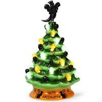 Ceramic Pre-Lit Halloween Tree Black Cat Tabletop Ceramic Hand-Painted Decor New