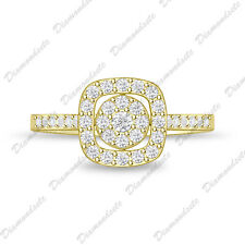14kt Yellow Gold Finish Size 4-12 Diamond Clusters Ring Princess Engagement Ring