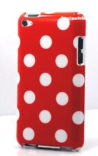 FOR IPOD TOUCH 4TH 4 TH 4 GEN ITOUCH RED WHITE POLKA DOT HARD BACK CASE COVER