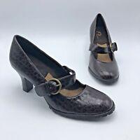A2 Aerosoles Beauty Sleep Women Brown Leather Print Heel Shoe Size 7M Pre Owned