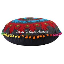 Indian Floral Round Embroidered Suzani Floor Pillow Cover Pom Pom Cotton 18""