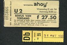 Original 1984 U2 Concert Ticket Stub Ahoy Rotterdam Unforgettable Fire Tour Rare