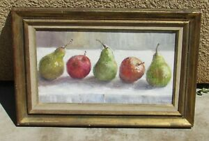 Marcelle Horace French Mid Century Still Life with Apples & Pears oil painting