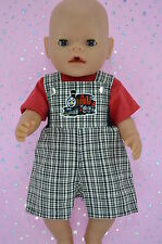 "Play n Wear Doll Clothes To Fit 17"" Baby Born CHECK BIB DUNGAREE~T-SHIRT"