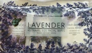 NWT Polish'd French Lavender 45 Pk Travel Size Facial Face Wipes Makeup Remover