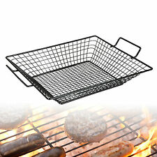 Barbecue Steel Mesh Basket Food Tray Grilling Non Stick Camping Rack Outdoor NEW
