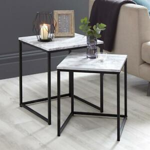 SET OF TWO Marble Effect Coffee Nest Table (With Metal Frame)Use as Coffee Table